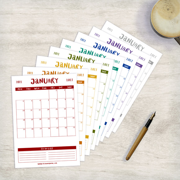 2021 / 2022 CALENDAR - MONTH BY MONTH - PRINTABLE PDF