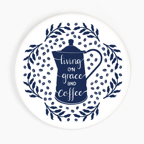 Living on Grace & Coffee Ceramic Coaster