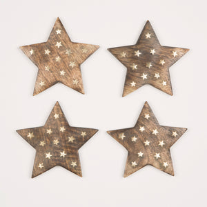 WOODEN STAR COASTERS - SET OF 4
