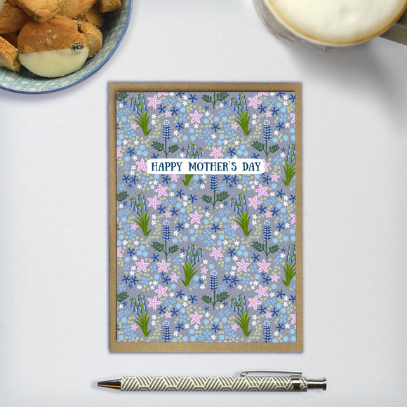 Happy Mother's Day / Wildflowers (Blue) - A6 greetings card