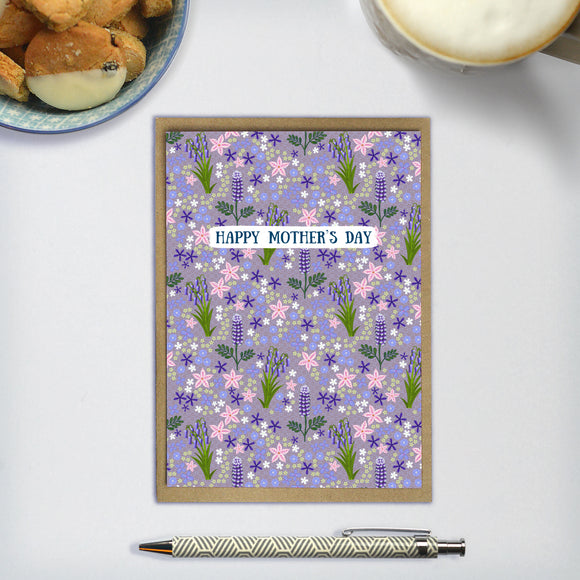 Happy Mother's Day / Wildflowers (Purple) - A6 greetings card