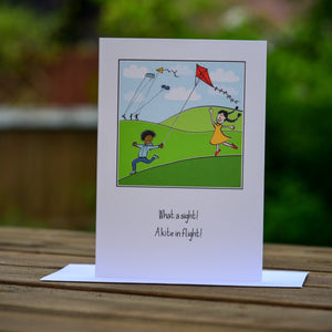 Greetings card - 'What a sight! A kite in flight!'