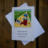 Greetings card - 'One for you, two for me and some for the crumble we'll have for tea.'