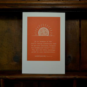 Greetings card - 'It is because of the Lord's loving kindnesses ... - Lamentations 3v22-23'