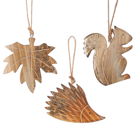 CARVED WOODLAND DECORATIONS - SET OF 3