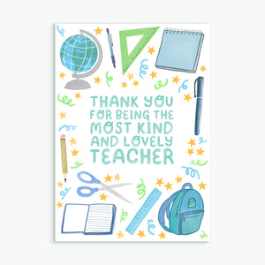 Kind & Lovely Teacher - Greetings Card