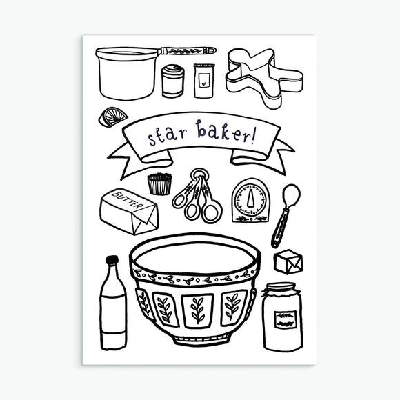 Star Baker, A6 greetings card