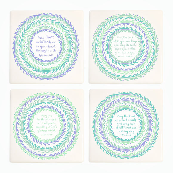 Bible Blessing Ceramic Coasters