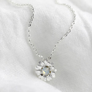 Crystal Daisy Charm Necklace in Silver