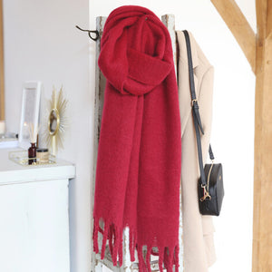 Rich Red Recycled Oversized Scarf