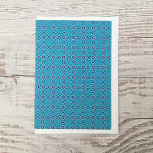 Greetings card - 'Blue Flowers and Diamonds'