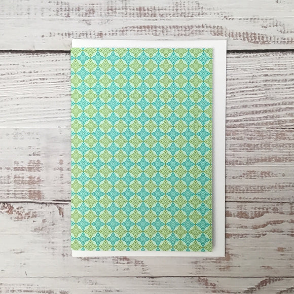 Greetings card - 'Blue & Green Crosses'