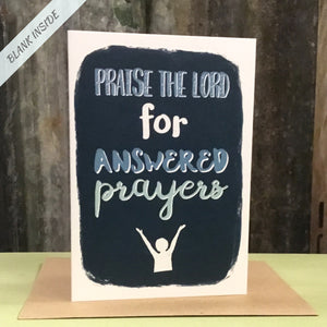 Greetings card - 'Praise the Lord for answered prayers.'