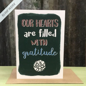 Greetings card - 'Our hearts are filled with gratitude.'