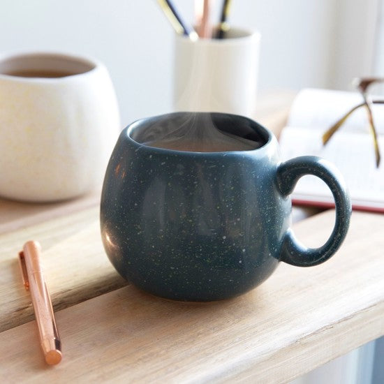 Navy Speckled Organic Shaped Mug