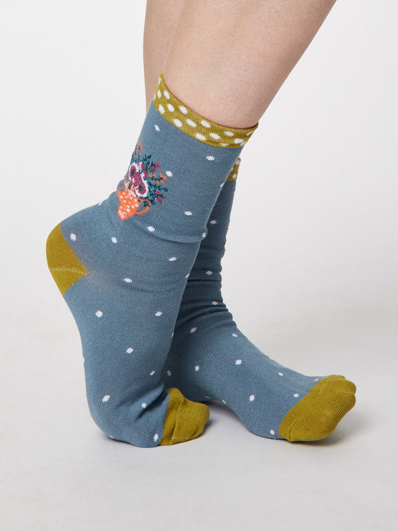 Flora Sea Blue Bamboo Socks For Women