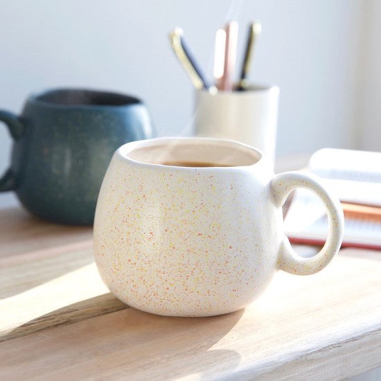White Speckled Organic Shaped Mug
