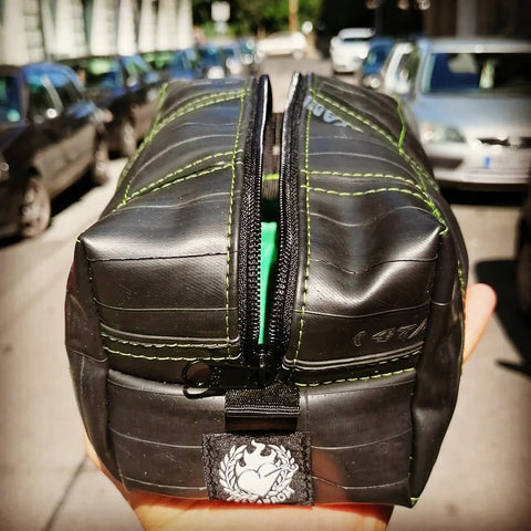 Bicycle tube toaletry bag black for cyclists