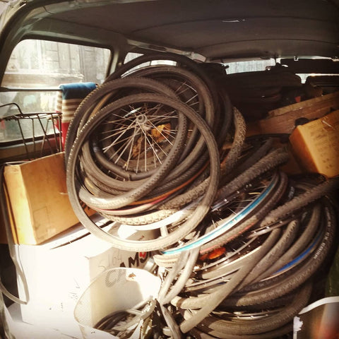 Collecting wornout bicycle tubes and tyres
