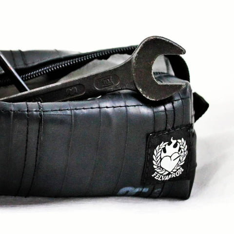 Mens toiletry bag black from upcycled bicycle tube