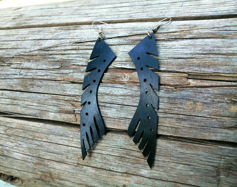 Recycled bicycle tube earrings - gift for cyclist woman