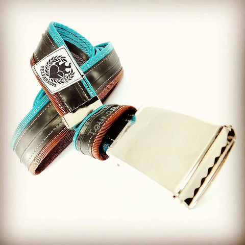 Upcycled bicycle belt turquoise brown vegan sustainable cyclist