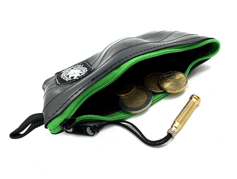Green coin purse wallet from recycled bicycle tube