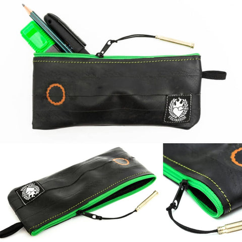 Green pen pencil case made of sustainable upcycled biketube by Felvarrom