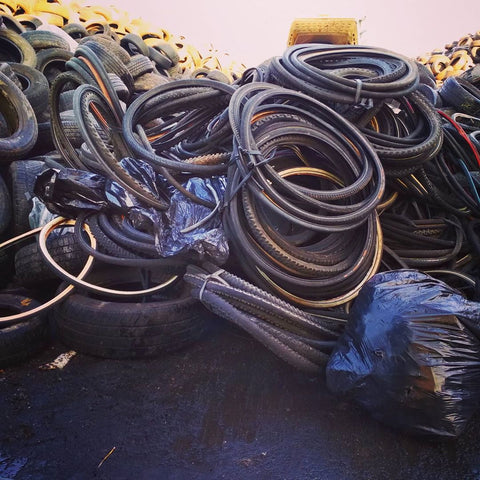 Wornout bicycle parts brought to the recycling facility by Felvarrom