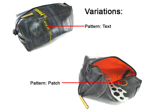 Patch or Text Variations on a Felvarrom Biketube Dopp Bag