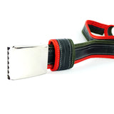 """Punctured"" inner tube belt, dark green – red"
