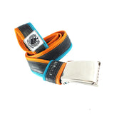 """Punctured"" inner tube belt, turquoise – orange"