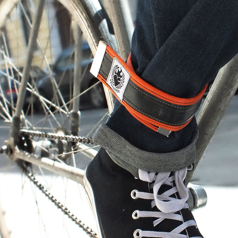 Upcycled inner tube trousers strap – orange by Felvarrom bicycle upcyclery - 1