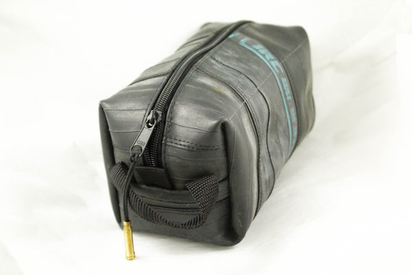 Bike tube toiletry bag black from upcycled rubber