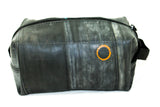 Black mens toiletry bag from recycled bike tube