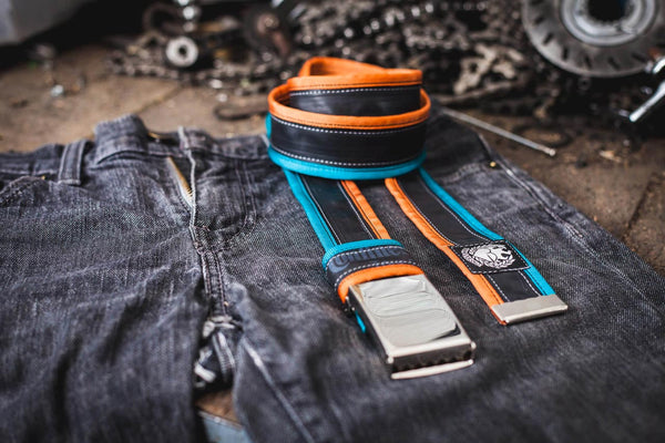 """Punctured"" inner tube belt, turquoise – orange by Felvarrom Bicycle Upcyclery - 1"