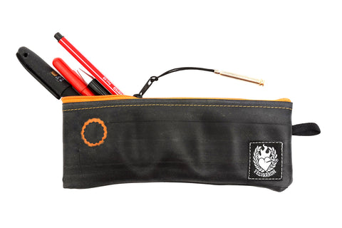 """PenTube"" Recycled Pencil Bag, Orange Zip"