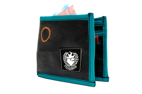 """WalleTube"" recycled inner tube wallet turquoise blue"
