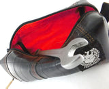 Upcycled recycled touiletry bag red from bicycle tube