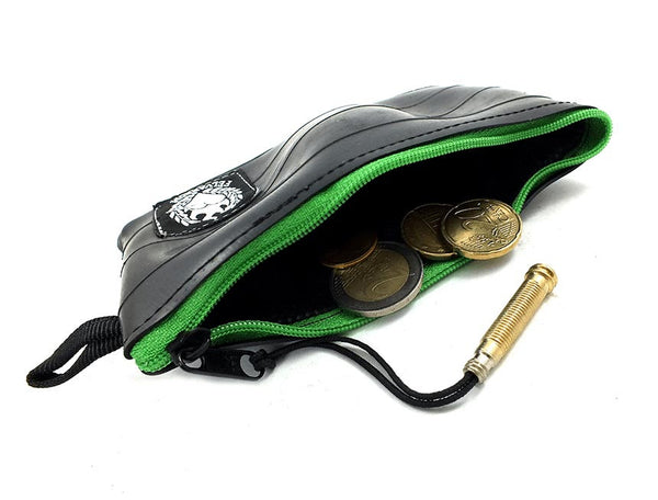 """CoInTube"" bicycle coin purse, M, green zipper by Felvarrom bicycle upcyclery - 1"