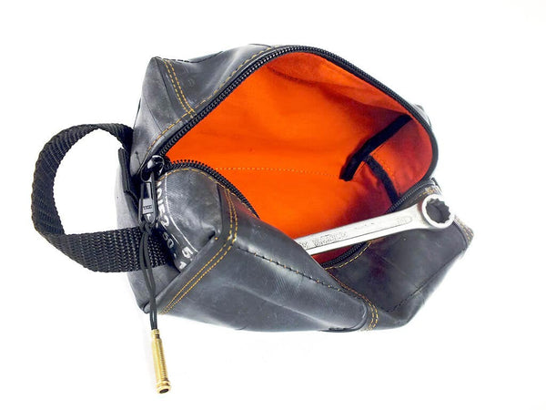 """InTuBag"" recycled bicycle inner tube bag, large, orange inside by Felvarrom bicycle upcyclery - 1"