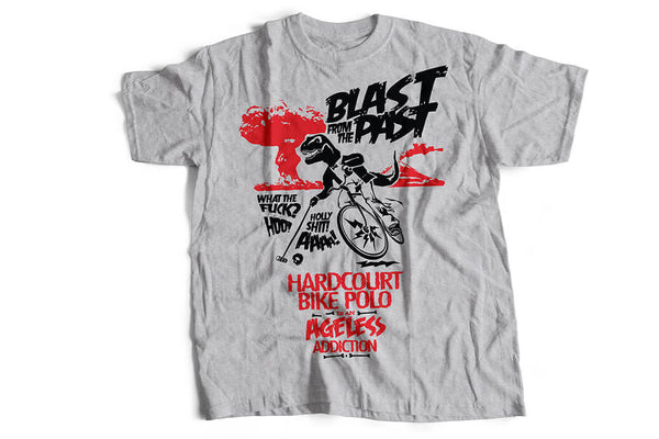 """Blast from the past!"" grey, biker T-shirt by Felvarrom bicycle upcyclery - 1"