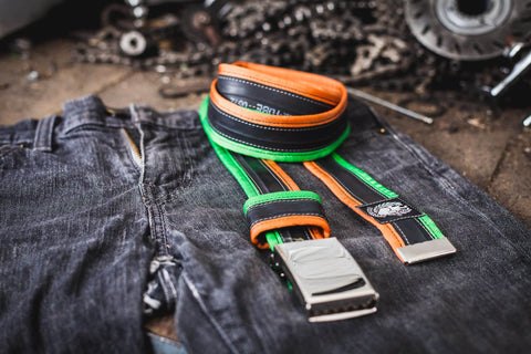 """Punctured"" inner tube belt, apple green - orange by Felvarrom bicycle upcyclery - 1"
