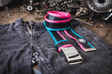 """Punctured"" inner tube belt, turquoise – pink by Felvarrom bicycle upcyclery - 3"