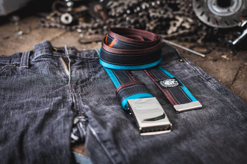 """2nd Life"" bike tube belt, turquoise – dark brown by Felvarrom bicycle upcyclery - 1"