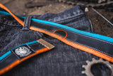 """Punctured"" inner tube belt, turquoise – orange by Felvarrom Bicycle Upcyclery - 3"