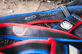 """Punctured"" inner tube belt, navy blue – red by Felvarrom bicycle upcyclery - 3"
