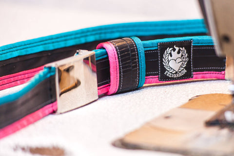 """Punctured"" inner tube belt, turquoise – pink by Felvarrom bicycle upcyclery - 1"
