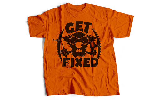 """Get fixed"" Tshirt, orange by Felvarrom bicycle upcyclery - 1"