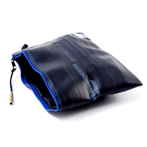 """SacTube"" Upcycled BikeTube Pouch Holder, Navy Blue Zip"